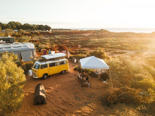 Seaside camping at Barn Hill Station